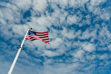 US flag in the sky
