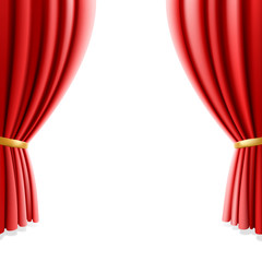 Red theater curtain on white background. Vector illustration.