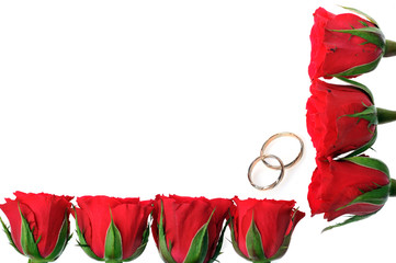 frame made from roses and rings