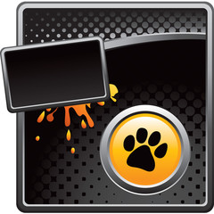 Paw print on black halftone advertisement