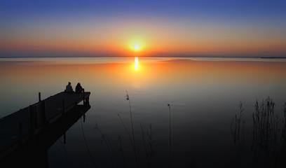 Deurstickers Pier Mirando el sol