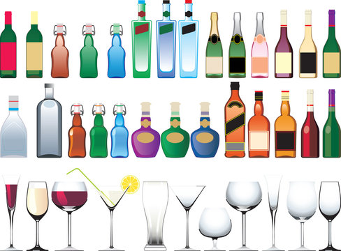 Different bottles, cups and glasses