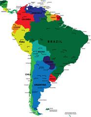 South America political vector map