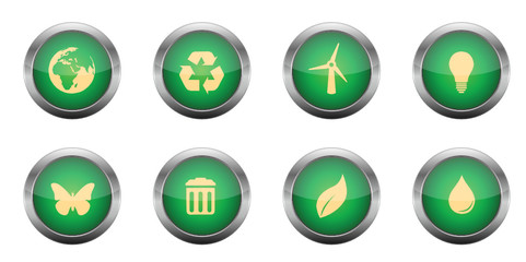 Green Glossy Web-Buttons - Eco Set