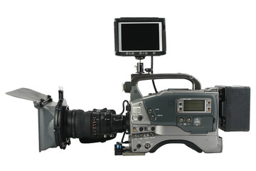 Professional Video Camera  monitor facing to you, Isolated