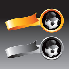 Soccer ball coach on orange and gray ribbons