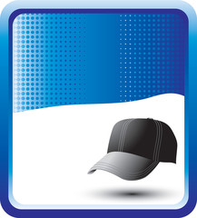 Baseball hat on blue checkered background