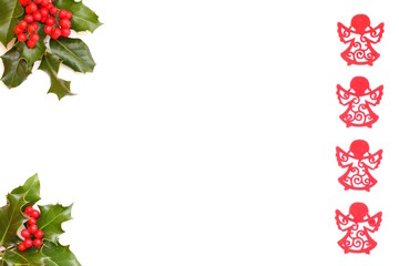 Christmas angel and holly,  background for your advertising