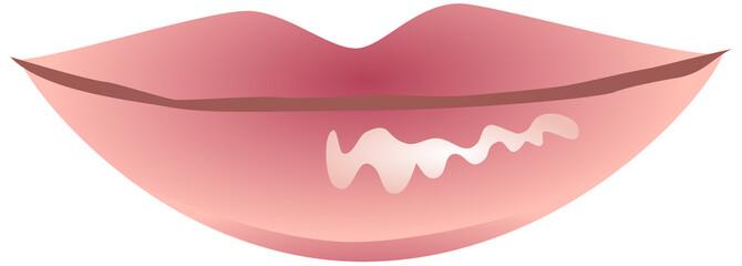 Pink glossy lips