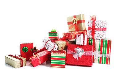Gift pile isolated on white