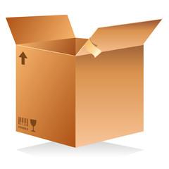 Carton de déménagement ouvert