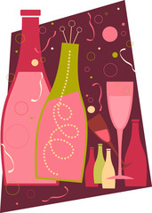 New Years – Deep Pink Theme Isolated