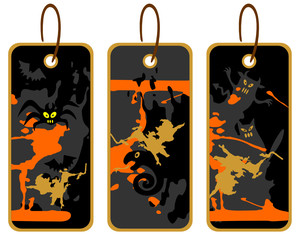 three Halloween price tags