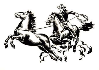 Cowboy mit Pferden
