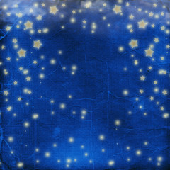 Blue cheerful background with multicolored confetti and stars