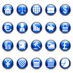 Set of 20 vector business and finance buttons.