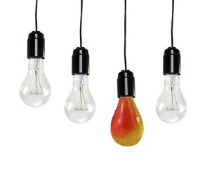 electric bulbs and a pear