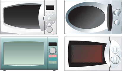 different microwave oven on a white background