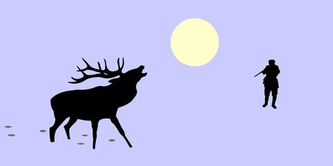 illustration of the huntsman and deer