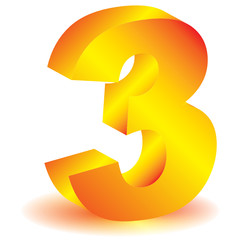 """3d gold vector numbers - """"Three"""" symbol with shadow."""