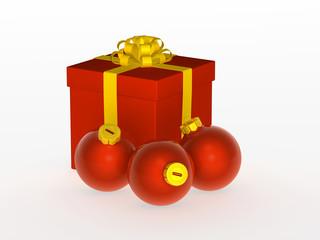 present and christmas balls