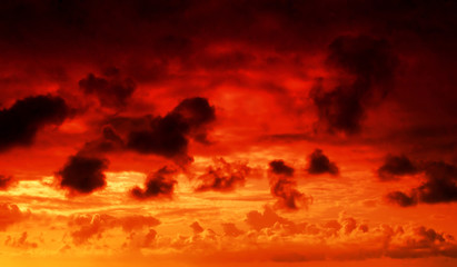 Garden Poster Brown fire in the sky cloudscape background