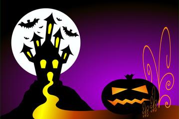 Halloween scene. Pumpkin, haunted house and bats.