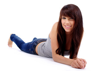 fashion woman portrait where she is smiling on the floor