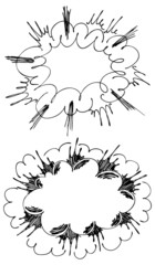 Illustration of the comic style hand drawn explosions