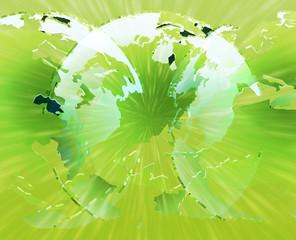 Glowing international globes