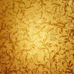金色の蔦模様の背景