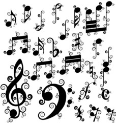 curled musical notes set