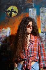 Young girl and graffiti