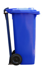 blue garbage can isolated on white background
