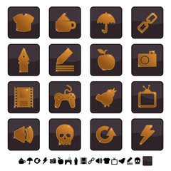 black and gold icons set 2
