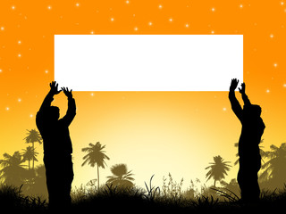 Silhouette of Palm Trees and men holding a white card