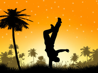 Silhouette of Palm Trees and a Dancer
