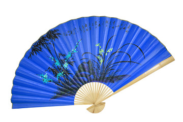 blue Chinese fan on the white background. (isolated)