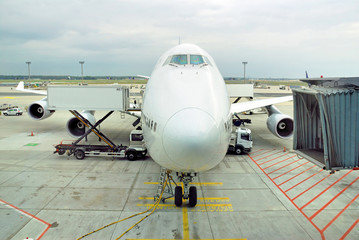 Germany, Frankfurt airport, airplane docking