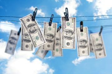 Dollars on a clothesline