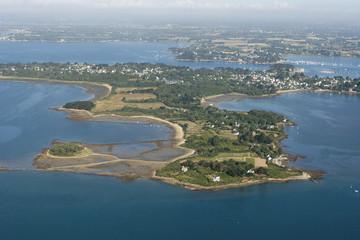 vue aérienne de l'île-aux-moines, Golfe du Morbihan