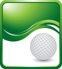 Golf ball on vertical green wave background