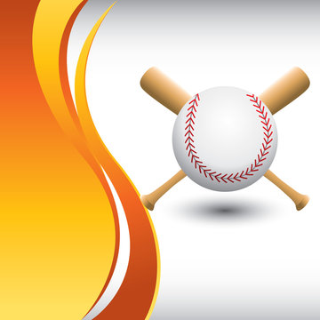 Baseball and bats by vertical orange wave background