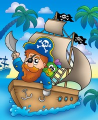 Fotorolgordijn Piraten Cartoon pirate sailing on ship
