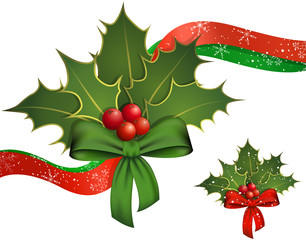 Christmas decoration with holly branches and berries, ribbon.