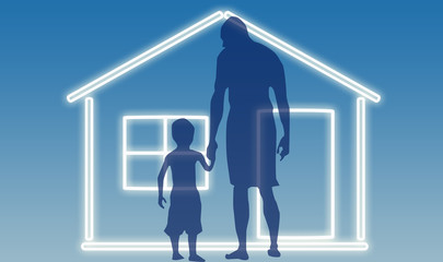 House with father and son silhouette © zzoplanet