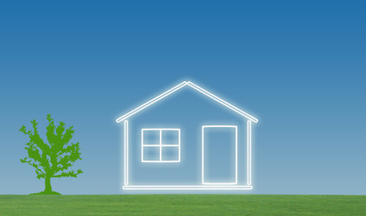 House with lawn and tree illustration