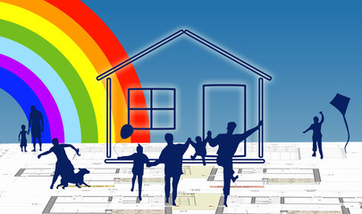 House with family silhouette on rainbow background© zzoplanet