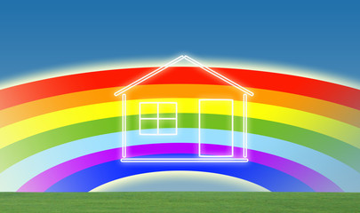 House with rainbow background © zzoplanet