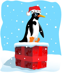 penguin sitting on a large Christmas present in the snow